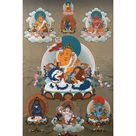 5 Dzambala Thangka   Tibetan Painting   Jambala Art - 20x30 inches