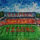 Tigers Mark, Memorial Stadium,Clemson, South Carolina-KoKing FORT-h4-Home Decor Holiday Artwork Texture Painting Dining Wall Art