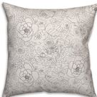 Winston Porter Rincon Floral Doodle Indoor/Outdoor Throw Pillow Gray 18.0 x 18.0 x 1.5 in   Wayfair Canada