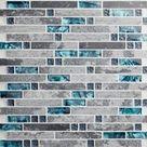 Glossy Stone Mixed Glass Backsplash Tile Gray and Aqua 9805 | Etsy