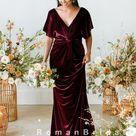 Sheath V Neck Short Sleeves Velvet Floor Length Bridesmaid Dresses,RBWG0011   US20 / Picture Color