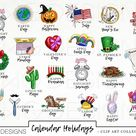 Calendar Holiday Icons Clip Art Clipart Watercolor Hand Drawn PNGS downloads - Limited Commercial Use - Planner Sticker Graphics Holidays