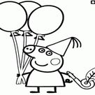 Peppa Pig with balloons coloring page printable game