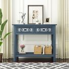 Longshore Tides Classic Console Table w/ Hollow-Out Decoration Two Top Drawers & Open Shelf Large Storage Space Fit For Limited Room (Silver) Wood