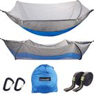 Cammouer Camping Hammock for Trees Portable Hammock with Net Parachute Fabric Travel Bed for Hiking Camping - Grey+dark Blue
