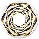 Designart 'Golden ZigZag Chain' Modern Round or Oval Wall Mirror - Whirl (24 in. wide x 24 in. high), DESIGN ART