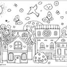Spring Street Colouring Page