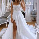 Gorgeous A Line Spaghetti Straps Appliques Wedding Dresses with Slit OKX24 - Champagne / US18