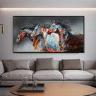 Wall Art Canvas Print Painting Colorful Horse Couple Wall Art For B...