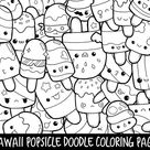 Mushrooms Doodle Coloring Page Printable   Cute/Kawaii Coloring Page for Kids and Adults