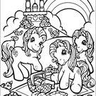 Kleurplaat van My Little Pony picknicken