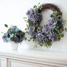 Antique Blue Magnolia, Vintage Hydrangea & Peony with Gerbera Daisy Faux Floral Arrangement in White Concrete Pot
