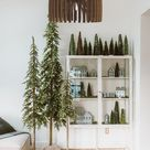 Wood Pendant Light, Christmas Tree Living Room Chandelier Brown, Modern Contemporary Lampshade Art