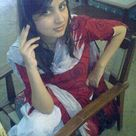 Pakistani village college girl in red salwar kameez