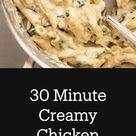 30 Minute Creamy Chicken Spinach Pasta