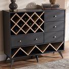 Baxton Studio Savino Mid-Century Modern Dark Grey and Oak Finished Wood Wine Cabinet