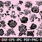 Roses SVG - Flower SVG - Rose Silhouette - SVG Cut Files - Rose Bundle Svg - Rose Clipart - Rose Cut File - Rose Vector - Instant Download