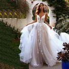 Long Boho A-Line Backless Wedding Dress - Champagne / 4 / 50cm