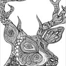 Deed head - Deers Coloring Pages for Adults - Just Color