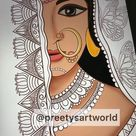 Indian Royal Lady Art Print,Printable Indian Wall Art,Indian Woman Painting,Downloadable Decor,Portrait Art Wall Pictures For Living Room
