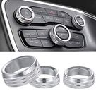 Air Conditioner Switch CD Button Knob Cover Auto Interior Accessories Aluminum Alloy Decal Trim Rings for 2015-2019 Dodge Challenger Charger Chrysler 300 300s 2013-2018 Dodge Ram - Silver