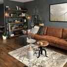 Stoere woonkamer met cognac leren bank - Makeover.nl