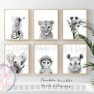 BABY SAFARI ANIMAL PORTRAIT PRINTS - A4 PRINT/A4 FRAME / 4