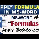 How to Apply Formulas in Ms Word Telugu    www.computersadda.com