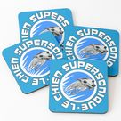 Le Chien Supersonique Coasters by jameshardy