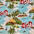 Pottery Barn KING Pillowcase Hawaiian Surf Palm Tree Tiki Print 100% Cotton