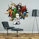 Lego Ninjago Breaking Through Wall Sticker 3D effect Decal children's boy's bedroom art graphic mural
