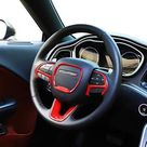 JeCar Steering Wheel Trim Interior Decoration Trim Kits for 2015-2020 Dodge Challenger/Charger & 2014-2019 Dodge Durango - Red