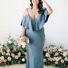 blue grey satin bridesmaid dress, slip dress, wedding dress, bridesmaid dresses, wedding dresses, long dress, spaghetti dress, halter neck