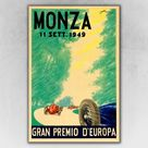 1949 Monza Italian Grand Prix European Racing Poster - 16x24