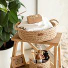 Jute basket with handles    Kitchen storage basket   Storage basket   Bathroom storage   Basket table setting  