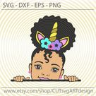 Peek a boo svg, Cute little afro puff girl with unicorn horn headband svg Peekaboo African American kids Svg cut files for Cricut Silhouette