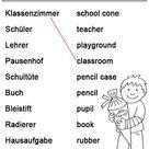 Ausmalbild Englisch lernen: Schule kostenlos ausdrucken