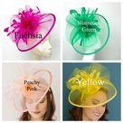 Red Mesh Fascinator, The Celeste Tea Party Hat, Church Hat, Kentucky Derby Hat, Fancy Hat, Pink Hat, Tea Party Hat, wedding hat, British Hat - Peachy Pink