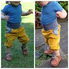 Summer Pants Cord, Mustard Yellow/Blue