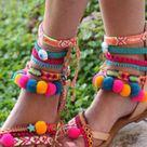 Pom Pom 'Let it Be' Festival Sandals by Borsis | Etsy