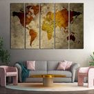 Push pin world map on canvas for wall decor Cool decoration for office or living room Travel map wal