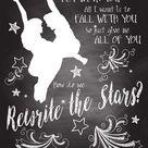 The Greatest Showman Art - Rewrite the Stars Chalkboard Wall Art 8.5x11