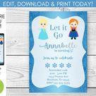 Frozen birthday invitation  Editable  Elsa  Anna  | Etsy