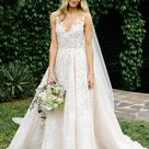Vintage Lace Wedding Gowns Illusion Neck Sleeveless Wedding Dresses with Train N1283   US6 / Custom Color