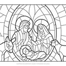 Christmas Nativity Scene Stained Glass coloring page | Free Printable Coloring Pages