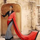 Indian Orange Off White Satin Jacquard AND Georgette Lovely Casual Saree