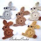2D Crochet Rabbit / Bunny Applique