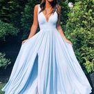 Light Blue Prom Dress with Slit, Evening Dress ,Winter Formal Dress, Pageant Dance Dresses, Graduation School Party Gown, PC0245 - 8 / Burgundy