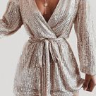 Silver Fashionable Sexy Sequins Rompers
