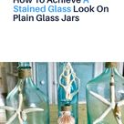 Faux Stained Glass On Thrift Store Vases or Mason Jars